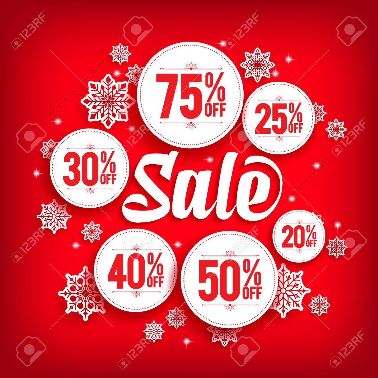 christmas sale discount in circles with snowflakes in red background