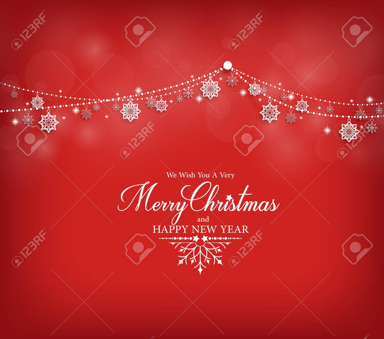 Merry Christmas Greetings Card Design with Snow Flakes Hanging in Red Background. Vector Illustration - 47533520