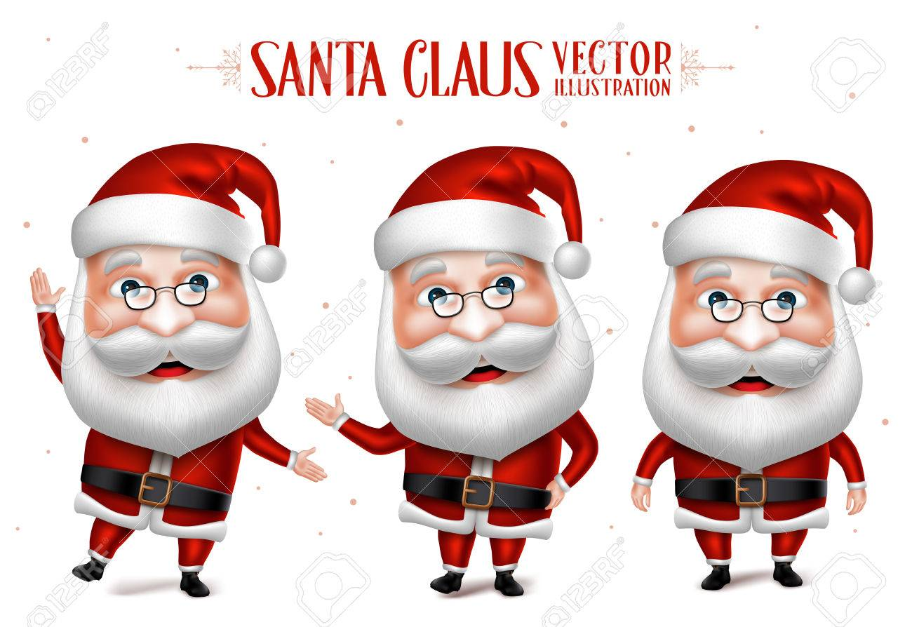 3D Realistic Santa Claus Cartoon Character Set for Christmas Designs Isolated in White background. Vector Illustration - 47648055