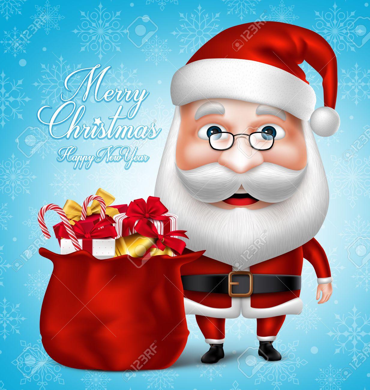 3d realistic santa claus cartoon character holding bag full of 3d realistic santa claus cartoon character holding bag full of christmas gifts and items vector kristyandbryce Choice Image