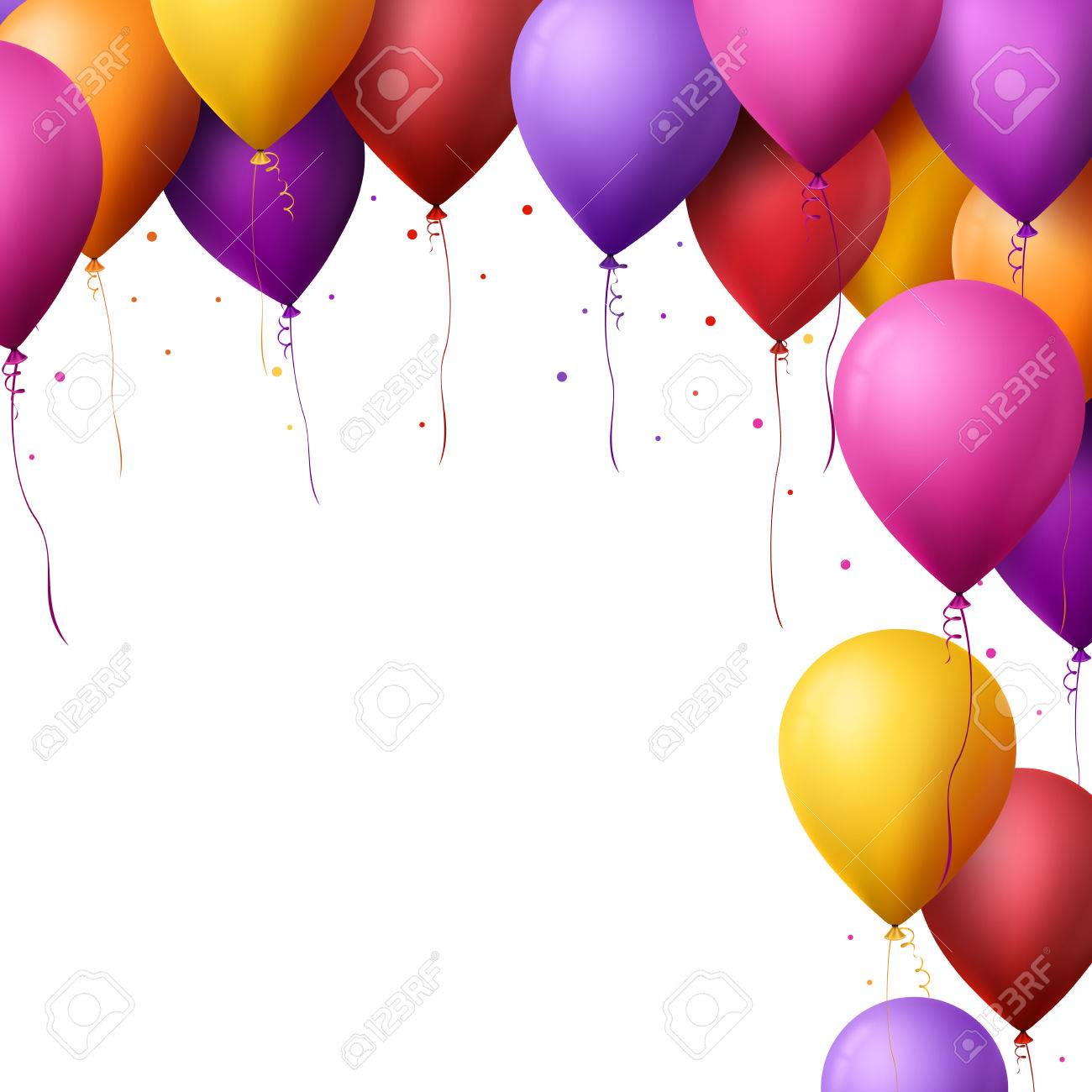 3d Realistic Colorful Happy Birthday Balloons Flying for Party and Celebrations With Space for Message Isolated in White Background. Vector Illustration - 47934304