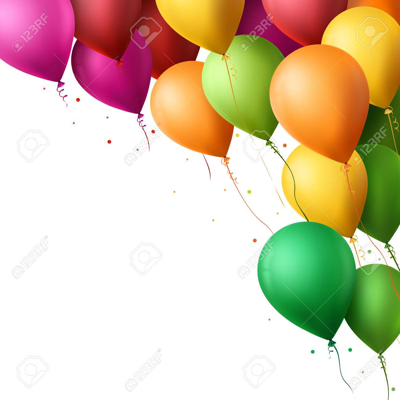 3d Realistic Colorful Happy Birthday Balloons Flying for Party and Celebrations With Space for Message Isolated in White Background. Vector Illustration - 47934305