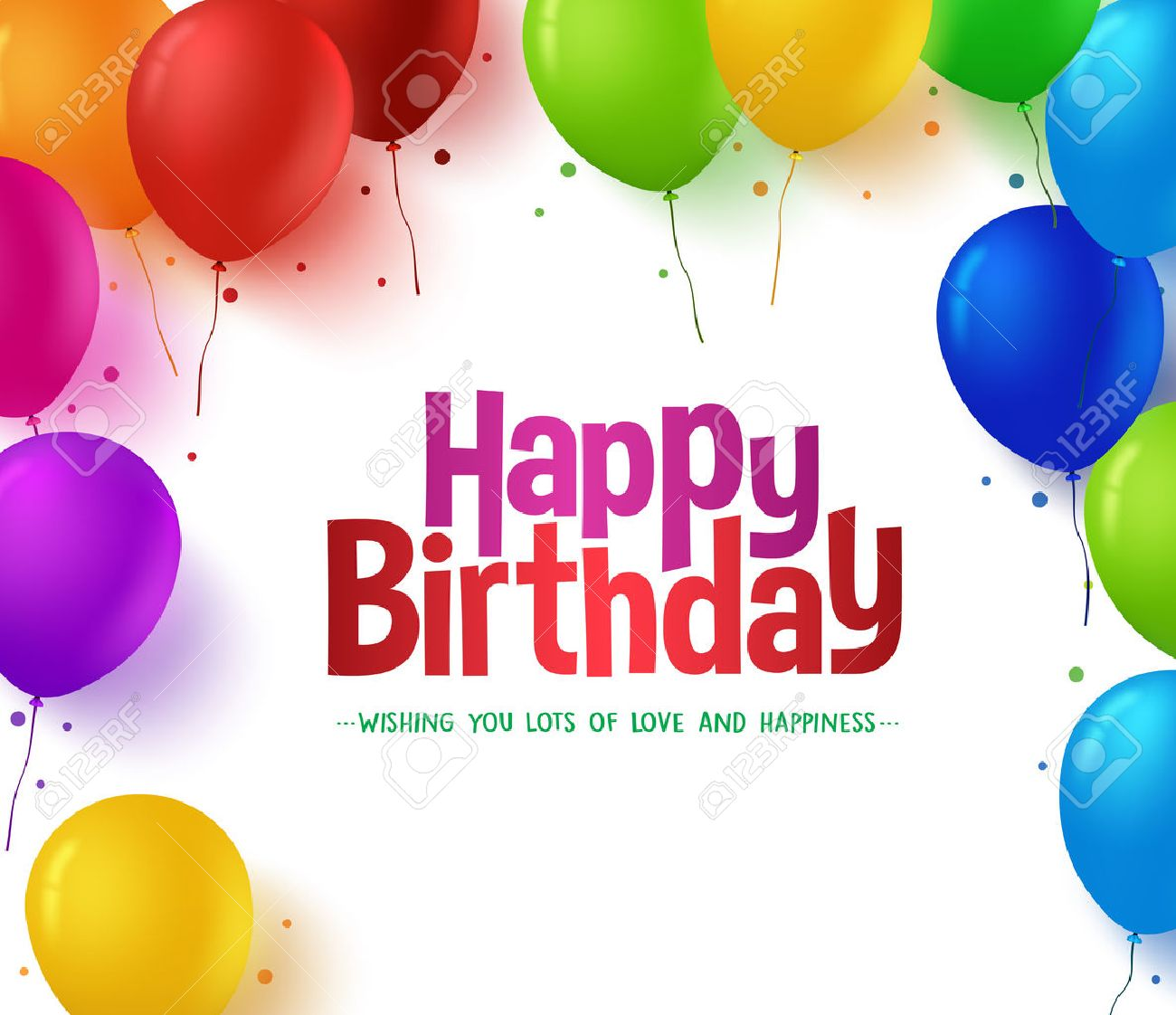 3d Realistic Colorful Bunch of Happy Birthday Balloons Background for Party and Celebrations With Space for Text Isolated in White. Vector Illustration - 48167513