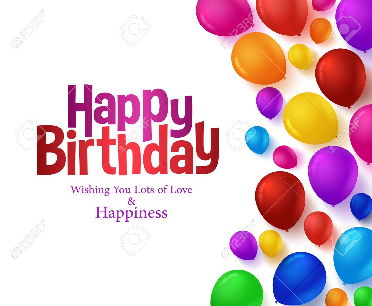 3d Realistic Colorful Bunch of Happy Birthday Balloons Background for Party and Celebrations With Space for Text Isolated in White. Vector Illustration - 48167516