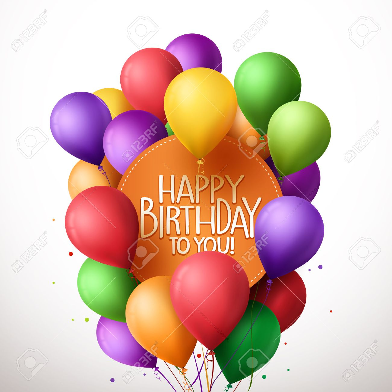 3d Realistic Colorful Bunch of Happy Birthday Balloons Flying for Party and Celebrations With Text in Circle Isolated in White Background. Vector Illustration - 48167518