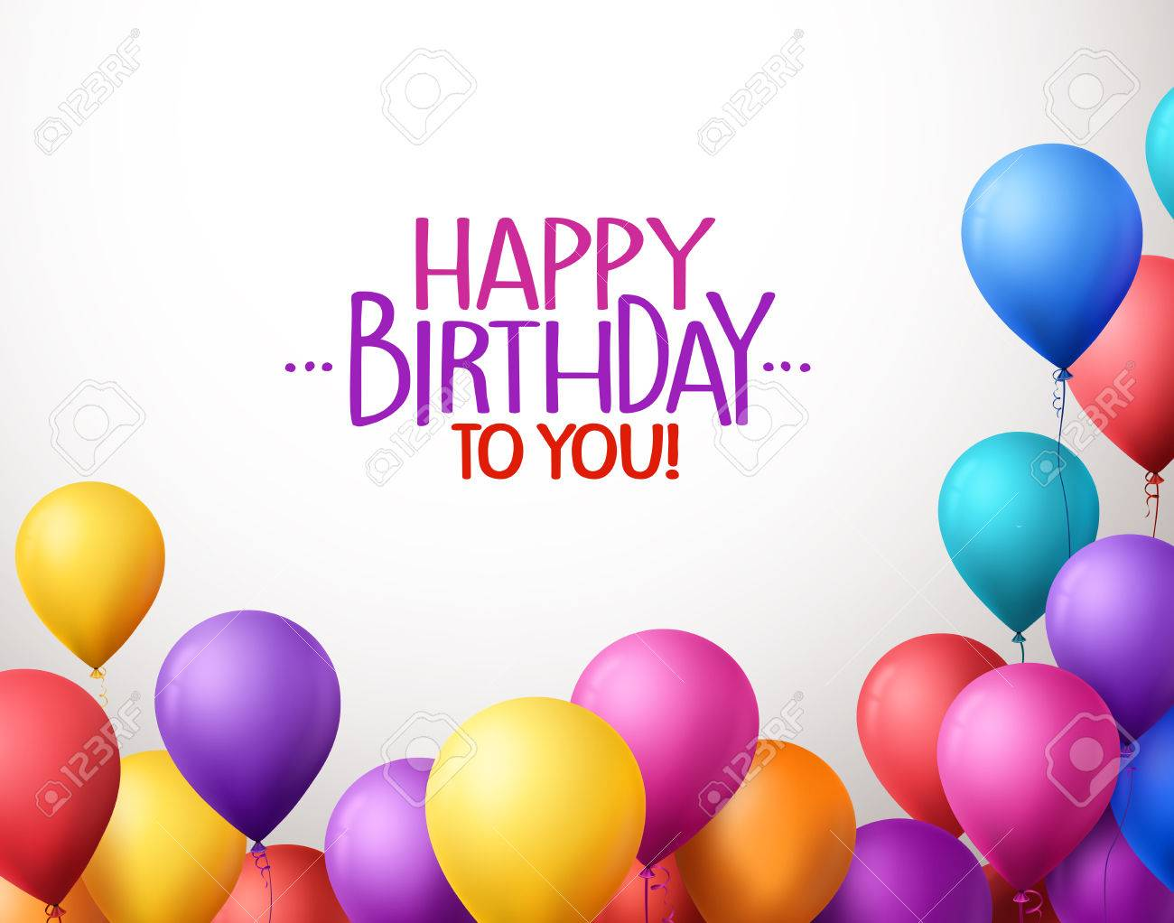3d Realistic Colorful Bunch of Happy Birthday Balloons Flying for Party and Celebrations With Space for Text Isolated in White Background. Vector Illustration - 48167521