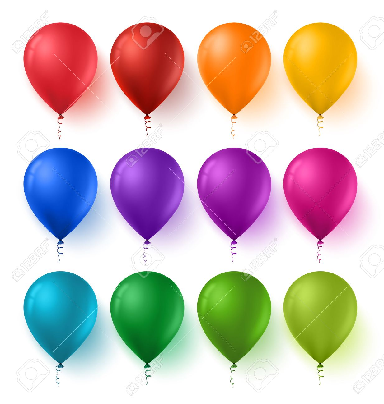 3d Realistic Colorful Set of Birthday Balloons with Glossy and Shiny Colors Isolated in White Background. Vector Illustration - 48316404