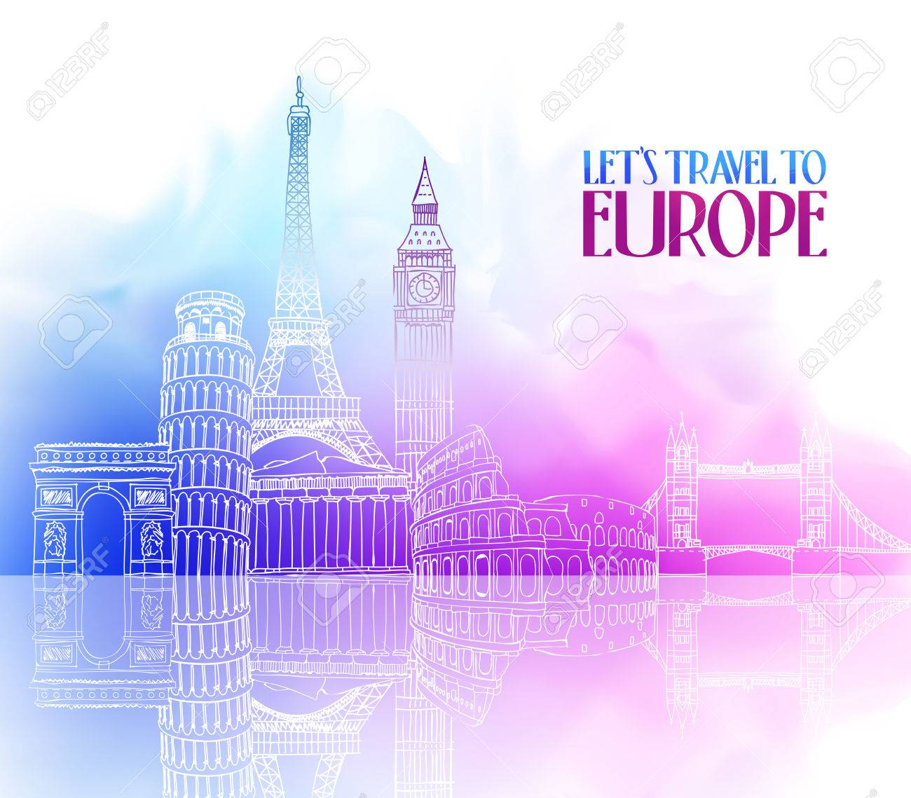 Travel Europe Hand Drawing with Famous Landmarks and Places in Colorful Watercolor Background with Reflection. Vector Illustration - 48820331