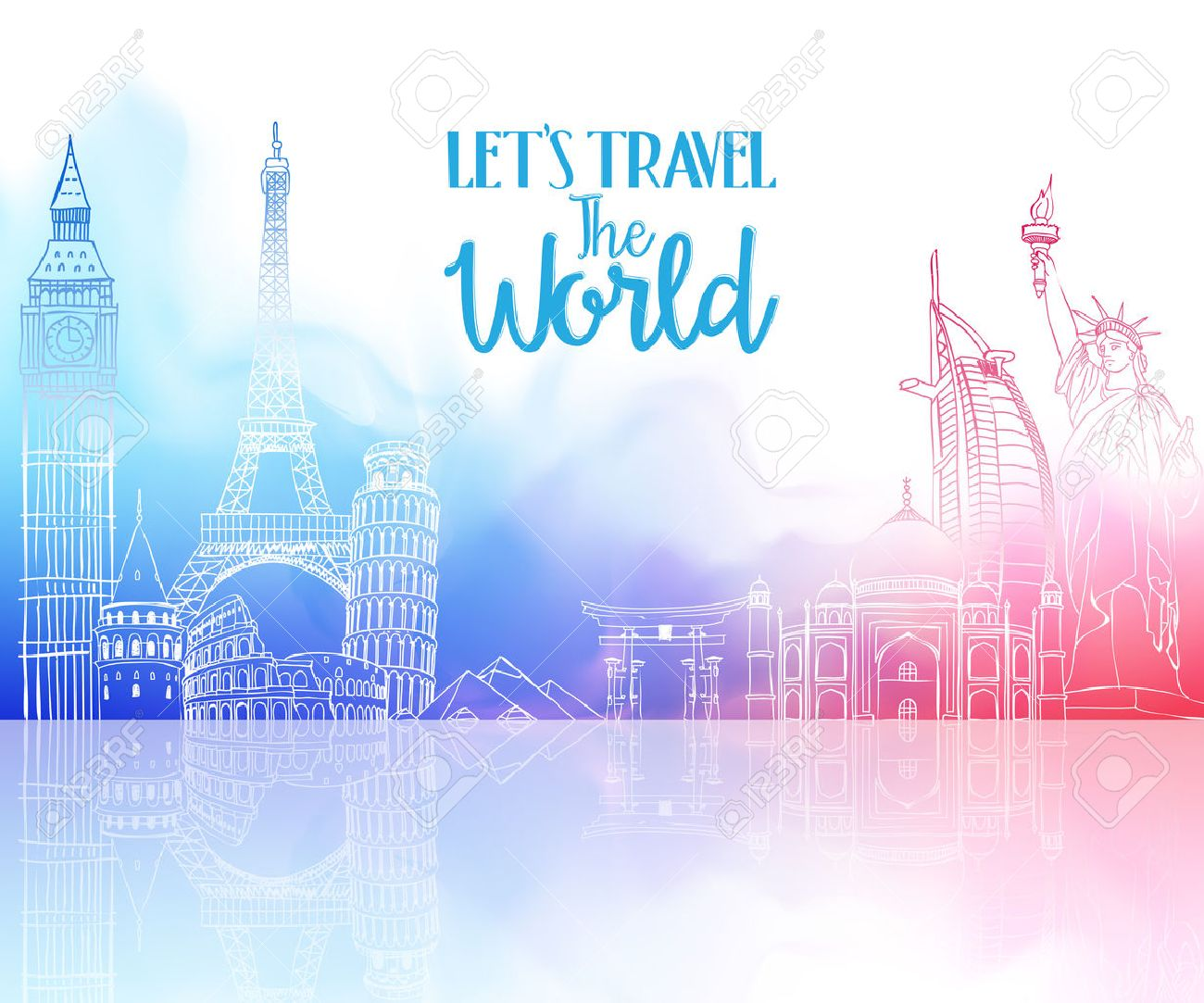 Travel The World Hand Drawing with Famous Landmarks and Places in Colorful Watercolor Background with Reflection. Vector Illustration Stock Vector - 48820352