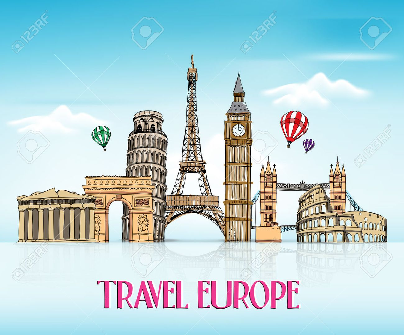 Travel Europe Hand Drawing with Famous Landmarks and Places in Blue Background with Reflection. Vector Illustration - 48820353