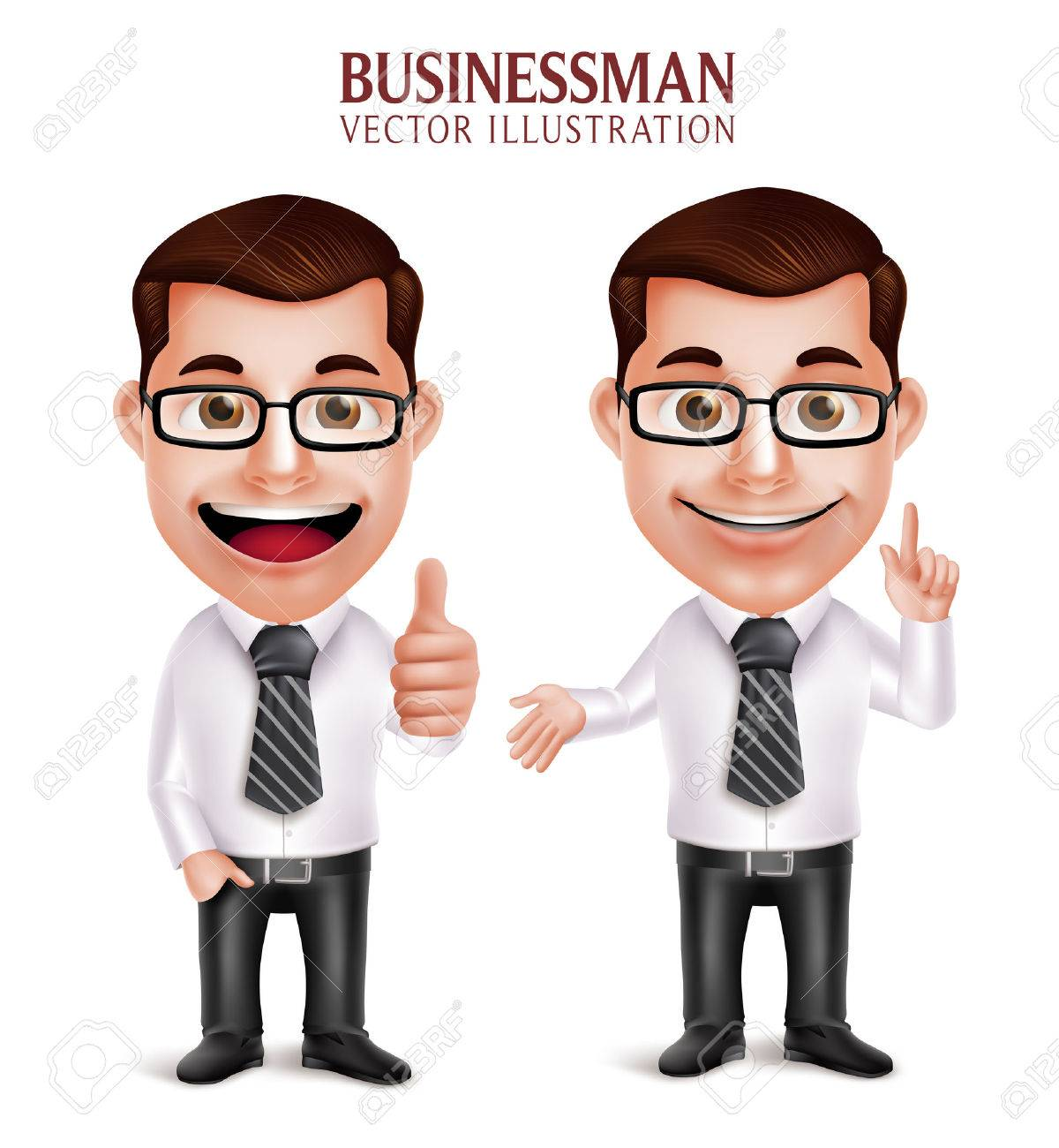 Set of 3D Realistic Professional Business Man Character with Pointing and OK Hand Gesture Isolated in White Background. Vector Illustration - 49379272