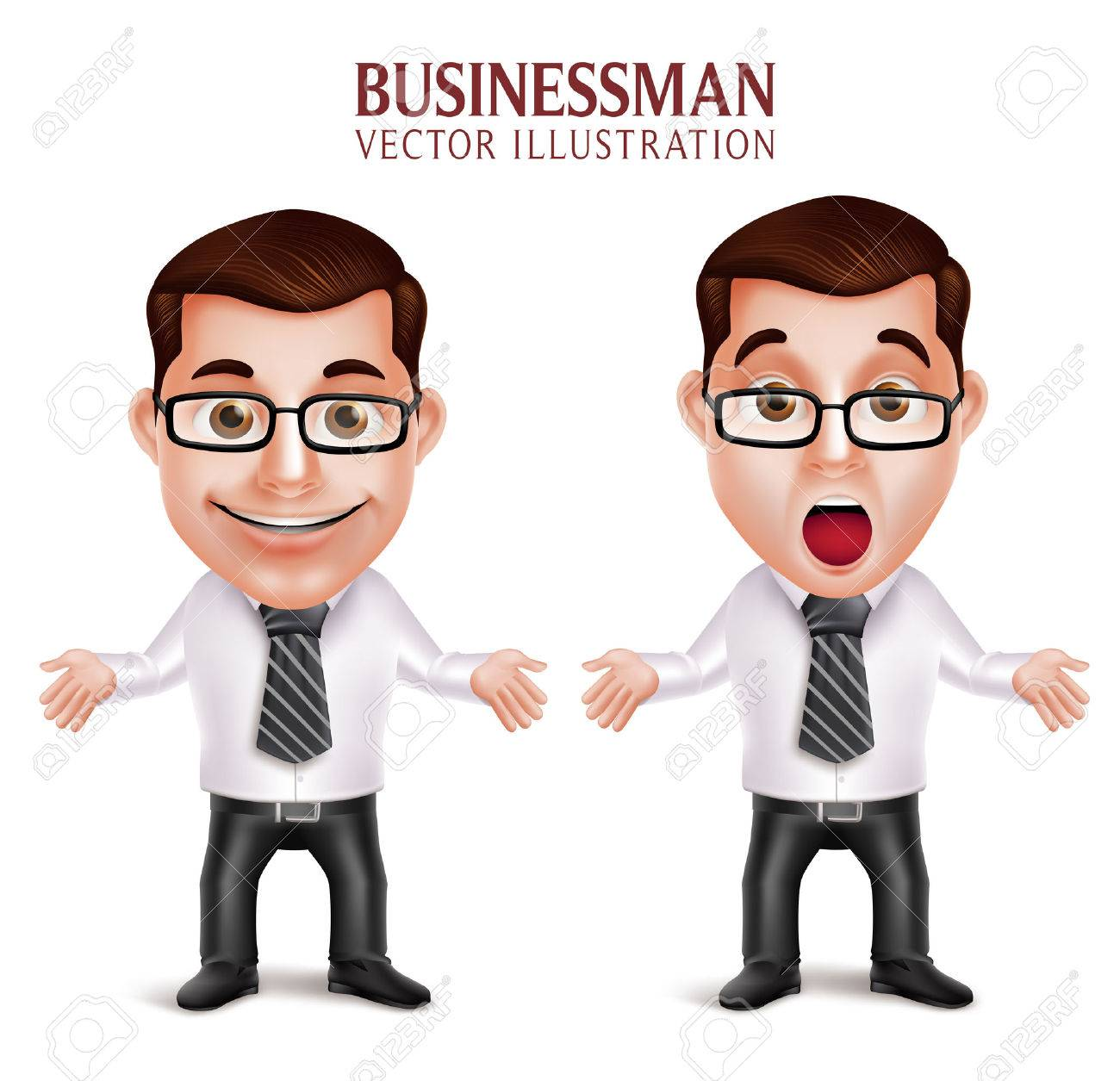 Set of 3D Realistic Professional Business Man Character Shocked and Surprised Posture Isolated in White Background. Vector Illustration - 49379277