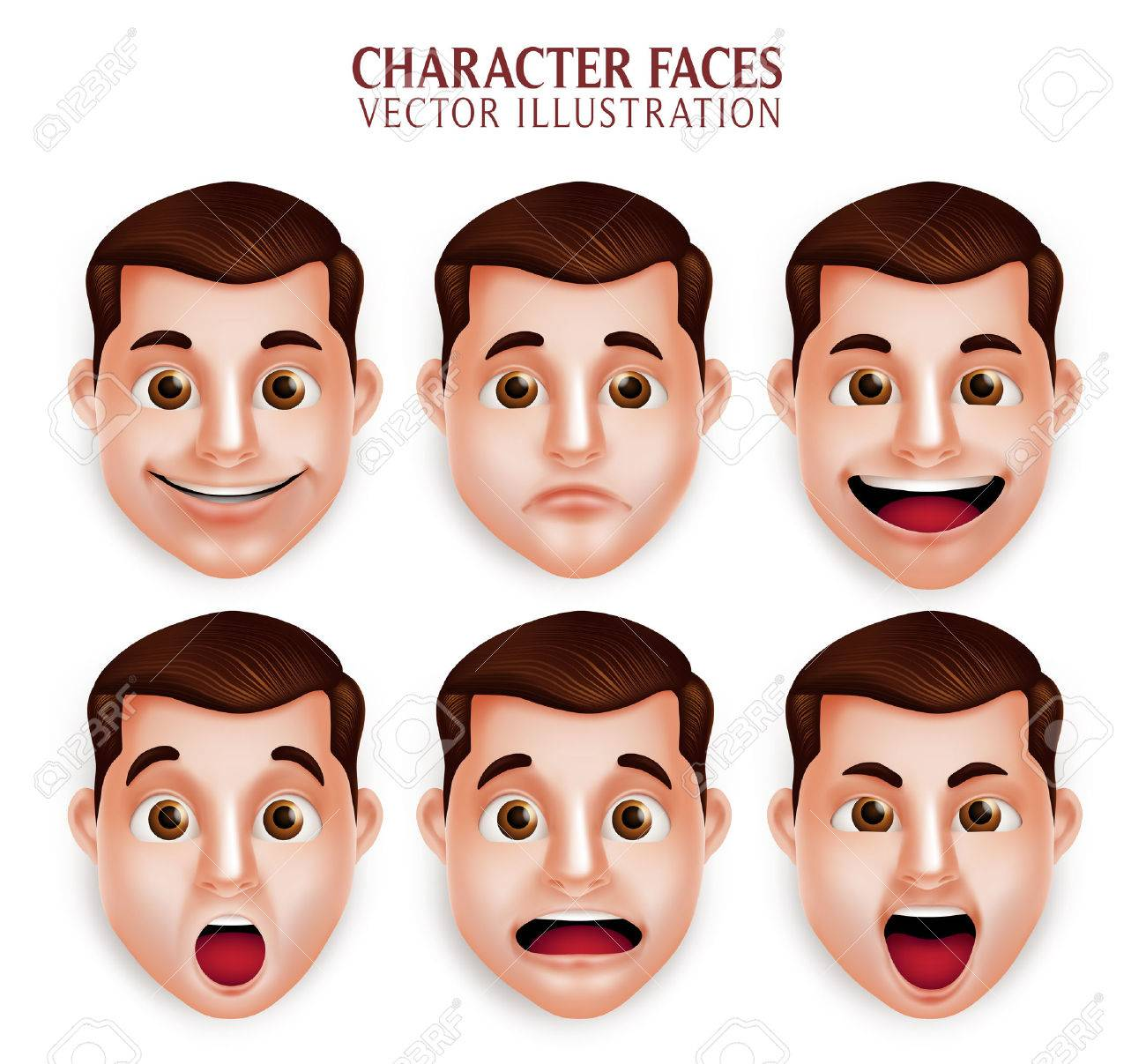 Set of 3D Realistic Handsome Man Head with Different Facial Expression Isolated in White Background. Vector Illustration - 49379279