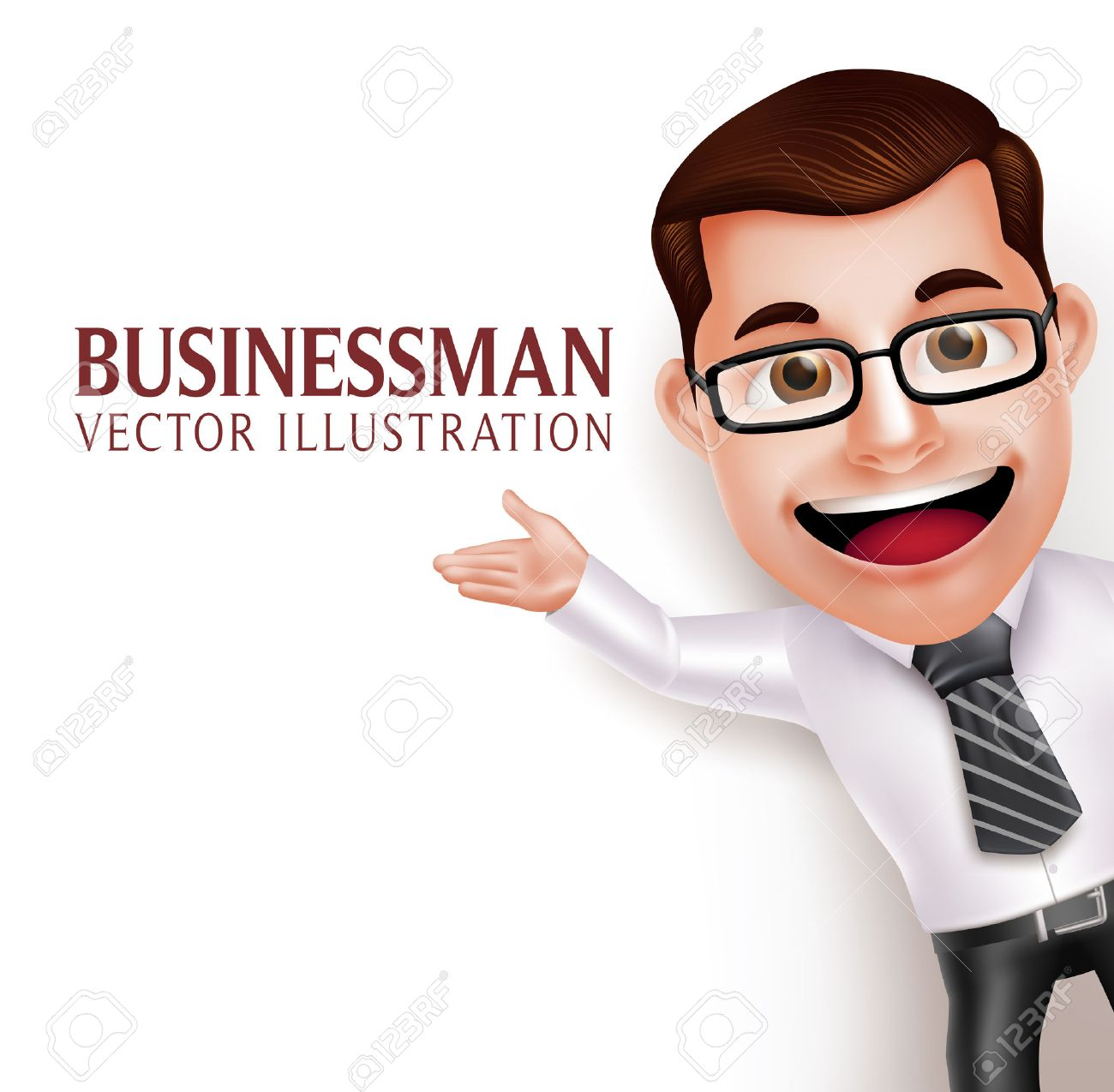 3D Realistic Professional Business Man Character Waving Hand for Presentation in Empty White Background. Vector Illustration - 49422083