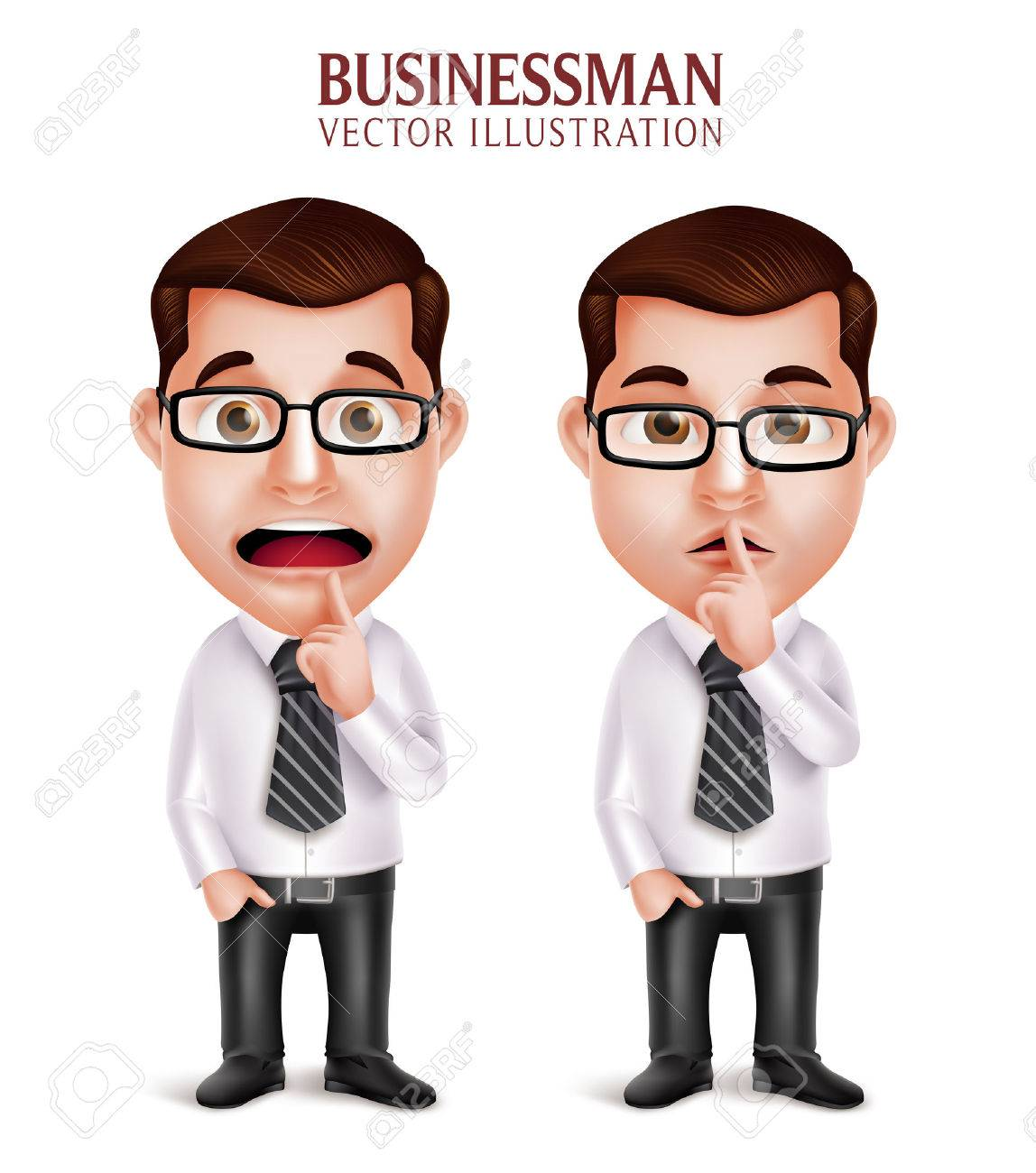 Set of 3D Realistic Professional Business Man Character in Silent Gesture and Worried Isolated in White Background. Vector Illustration - 49632347