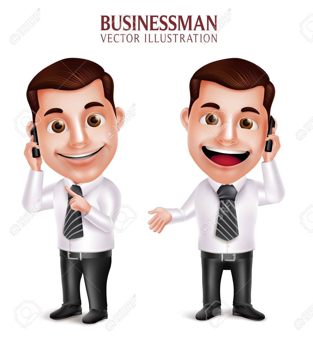 3D Realistic Professional Business Man Vector Character Holding Mobile Phone Happy Talking Isolated in White Background. Vector Illustration - 49632349