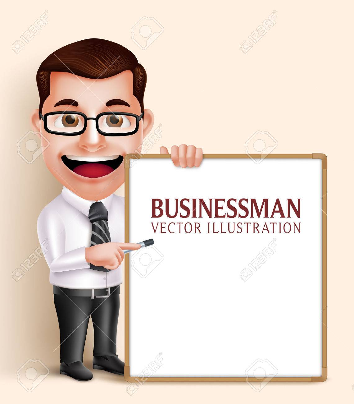 3D Realistic Professional Business Man Vector Character Holding Blank White Board for Presentation or Space for Text. Vector Illustration - 49632353