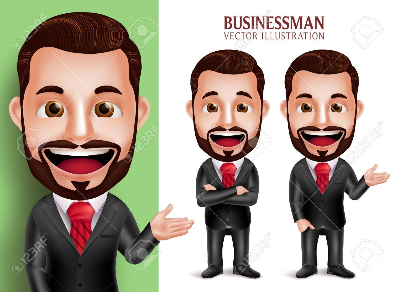 3D Realistic Professional Business Man Vector Character Smiling in Attractive Corporate Attire for Presentation Isolated in White Background. Set of Vector Illustration - 49826485