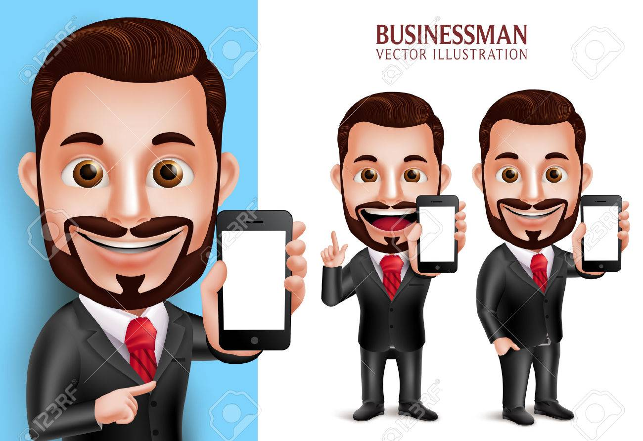 3D Realistic Professional Business Man Vector Character Holding Mobile Phone with Blank Screen Isolated in White Background. Set of Vector Illustration - 49826486