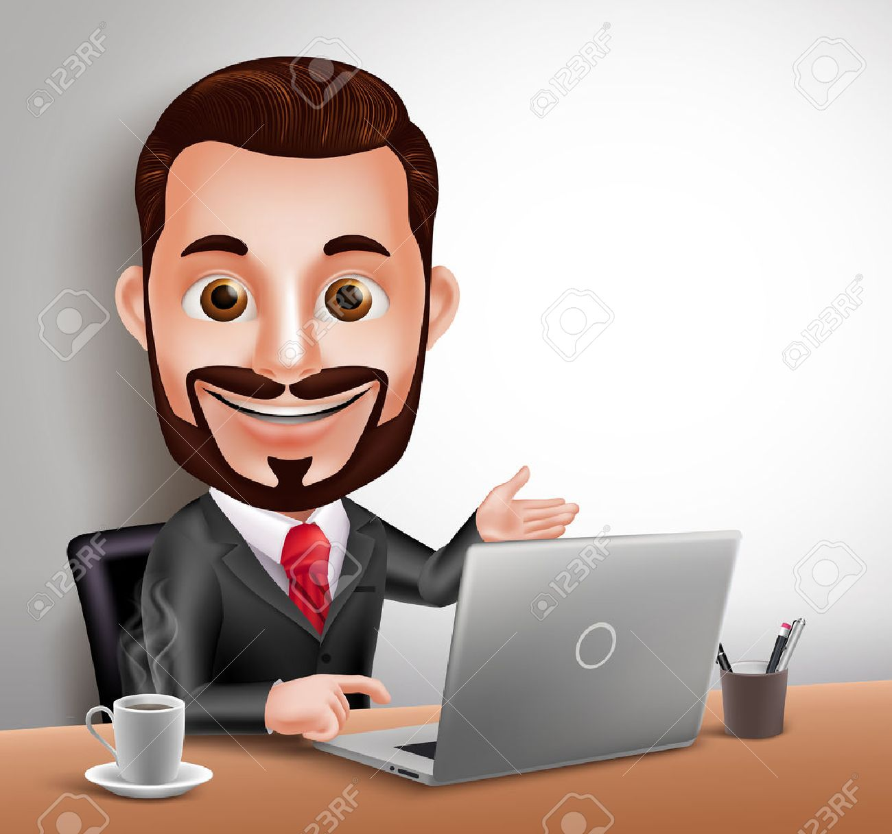 3D Realistic Professional Business Man Vector Character Happy Sitting and Working in Office Desk with Laptop Computer. Vector Illustration - 49826490