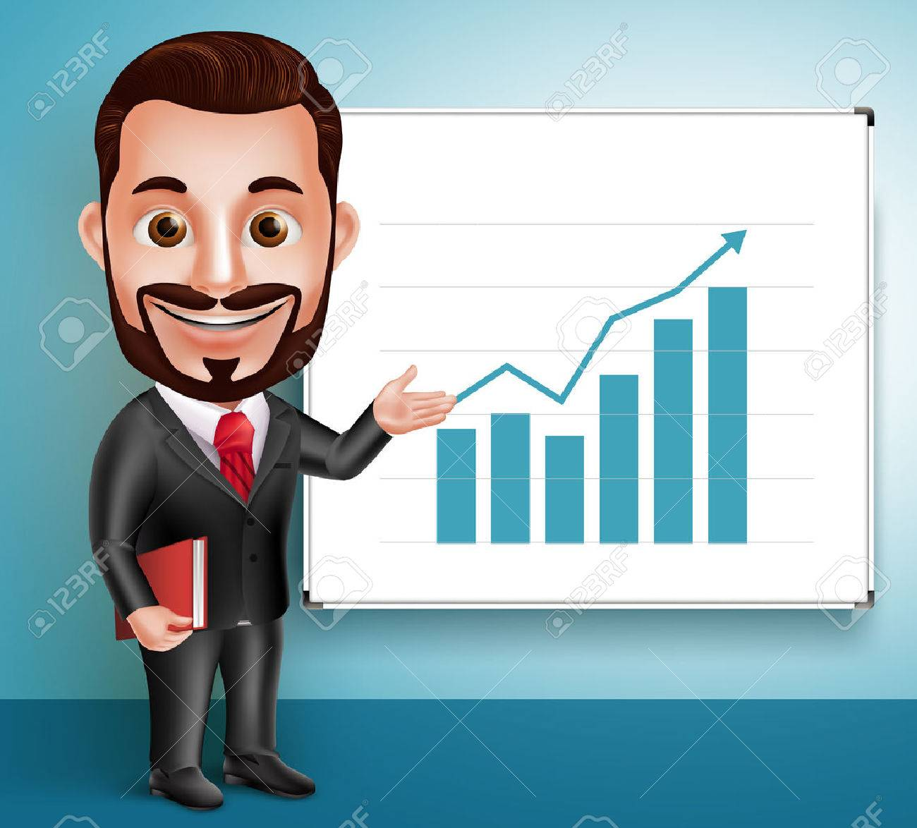 3D Realistic Professional Business Man Vector Character Happy Speaking and Showing Chart Presentation in White Board. Vector Illustration - 49826491