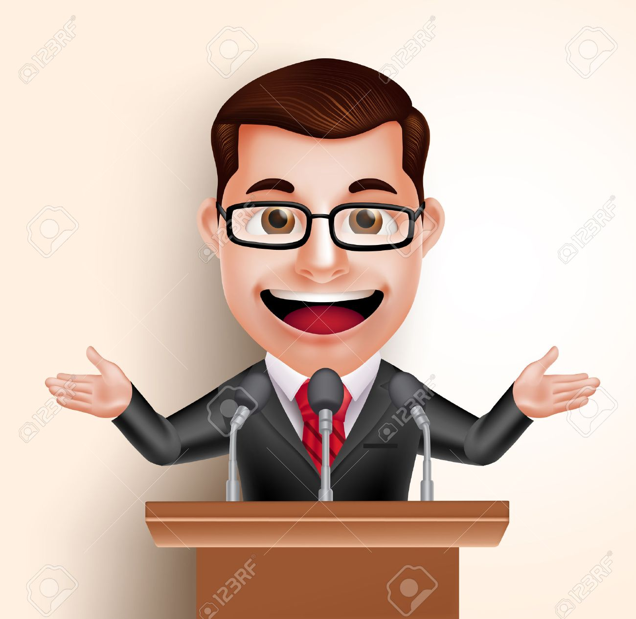 3D Vector Character Happy Politician Man or Speaker in Conference Speech. Vector Illustration - 49890059