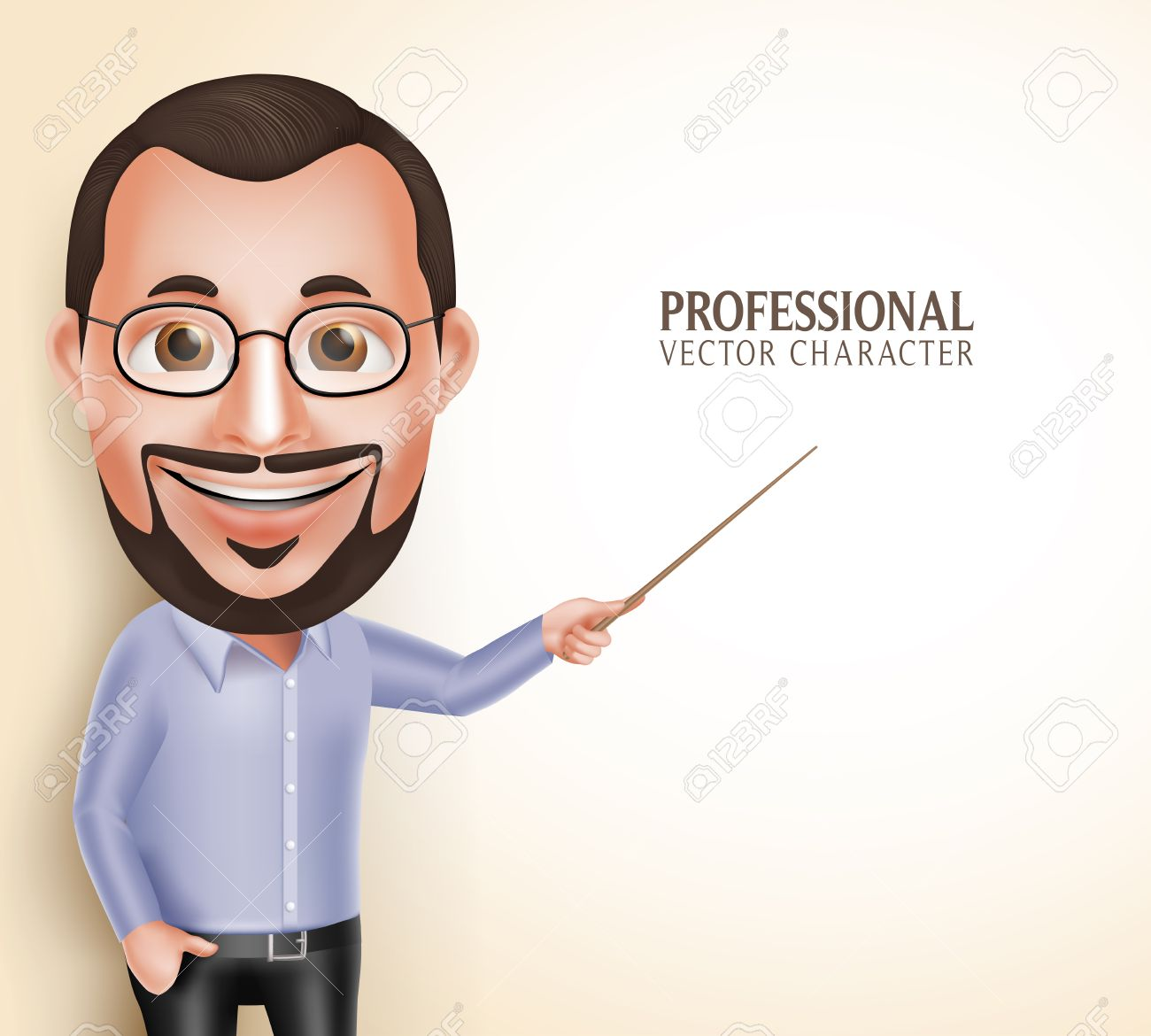 3D Realistic Professional Old Professor Teacher Man Character Speaking Pointing Blank Space for Message Isolated in White Background. Illustration - 50500000