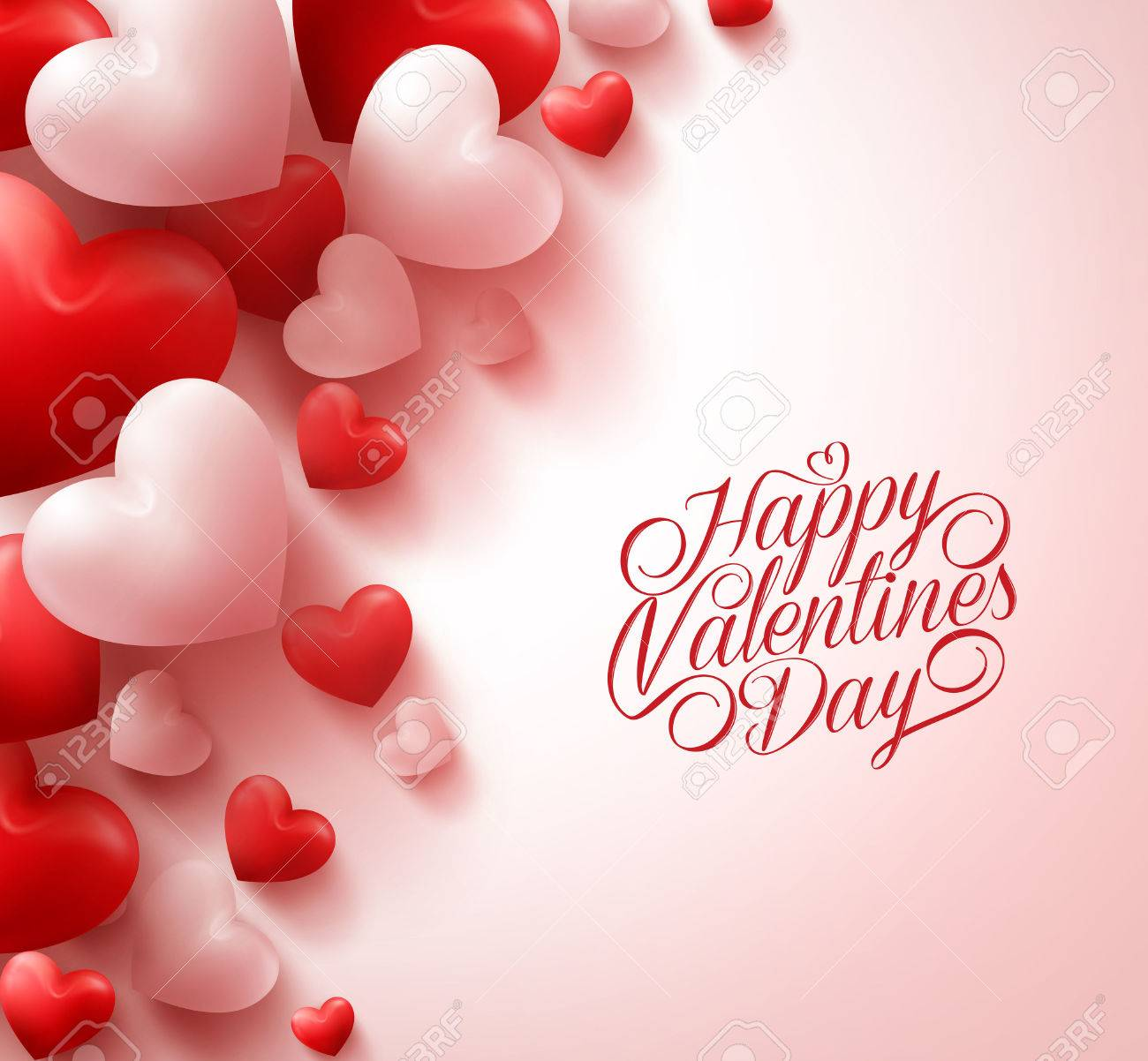 3d Realistic Red Hearts And Sweet Happy Valentines Day Title