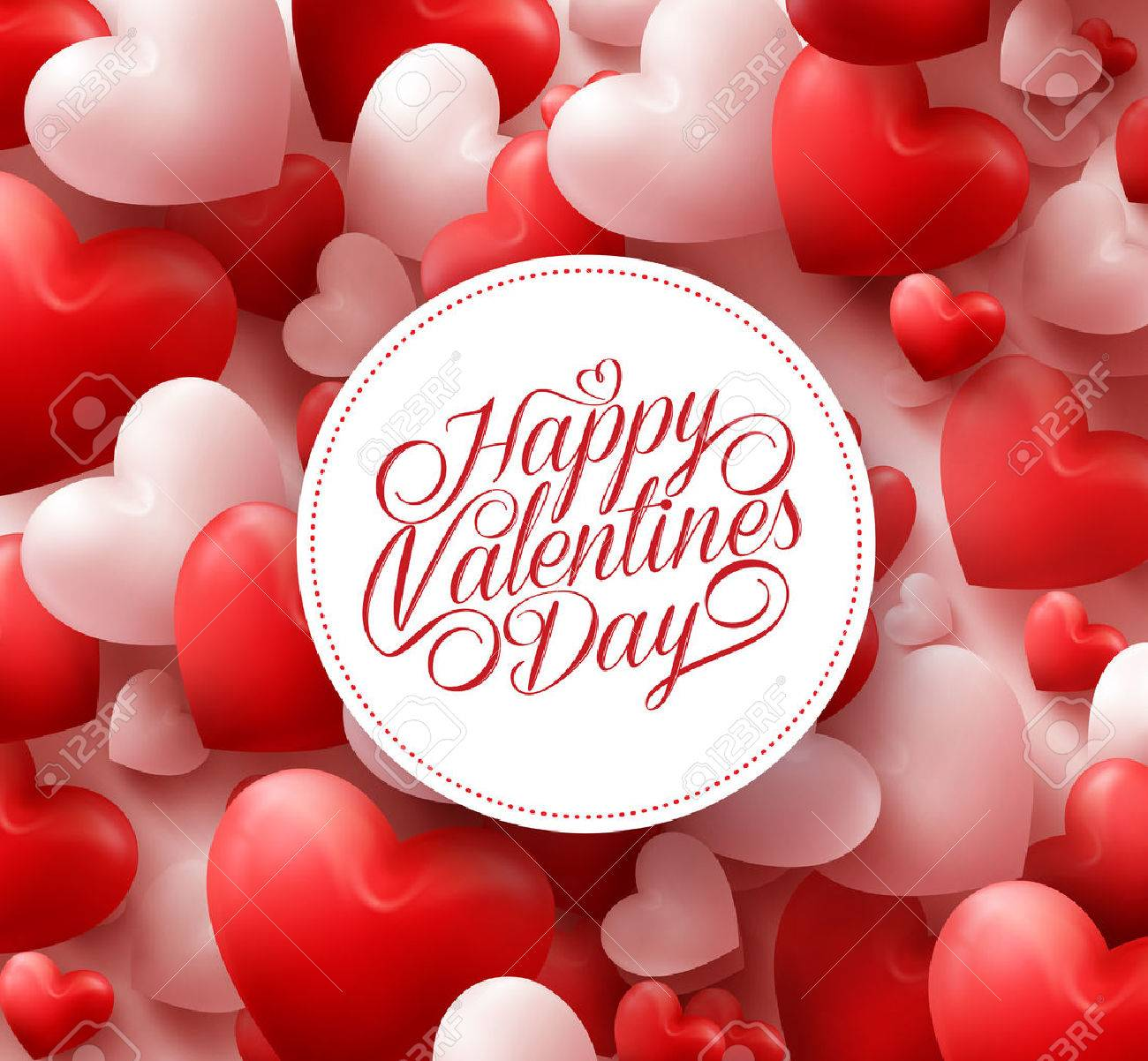 3D Realistic Red Hearts Background with Happy Valentines Day Greetings in White Circle. Illustration - 50500005