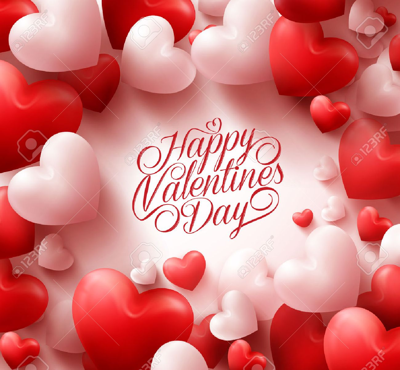 3D Realistic Red Hearts Background with Sweet Happy Valentines Day Greetings in the Middle. Illustration - 50500008