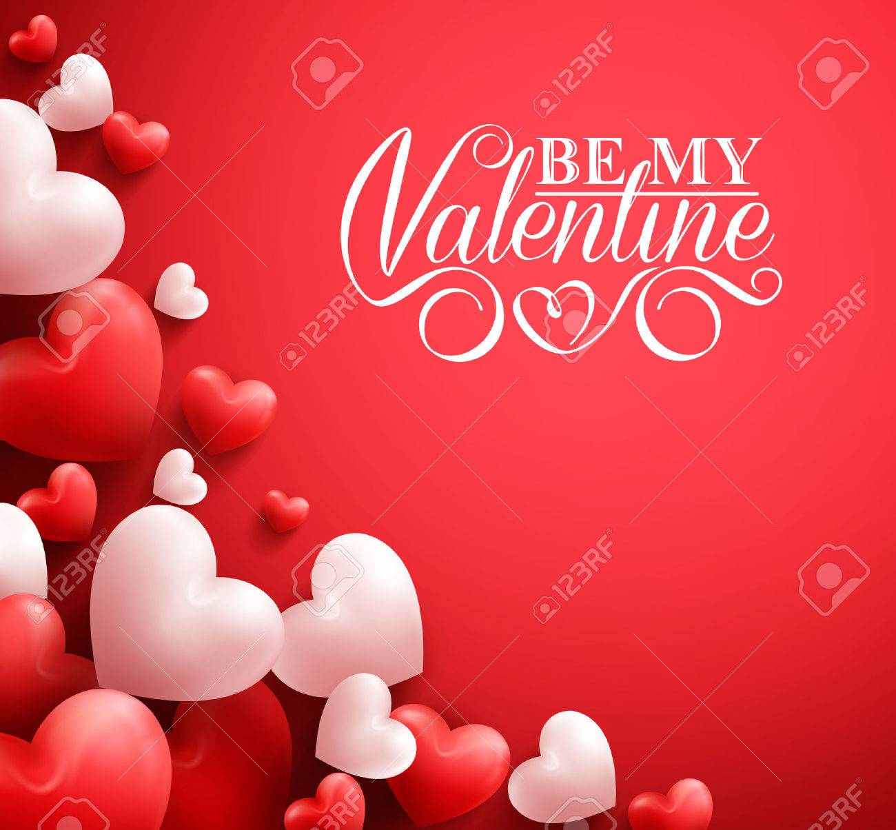 Realistic 3D Colorful Soft and Smooth Valentine Hearts in Red Background with Happy Valentines Day Greetings. Illustration - 50500014
