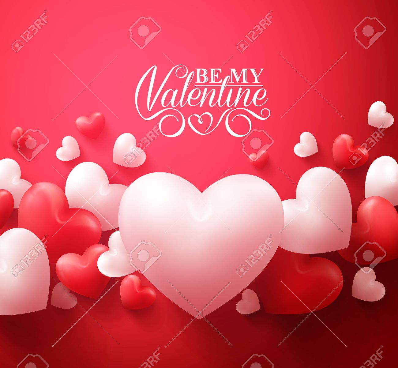 Realistic 3D Colorful Red and White Romantic Valentine Hearts Background Floating with Happy Valentines Day Greetings. Illustration - 50500136