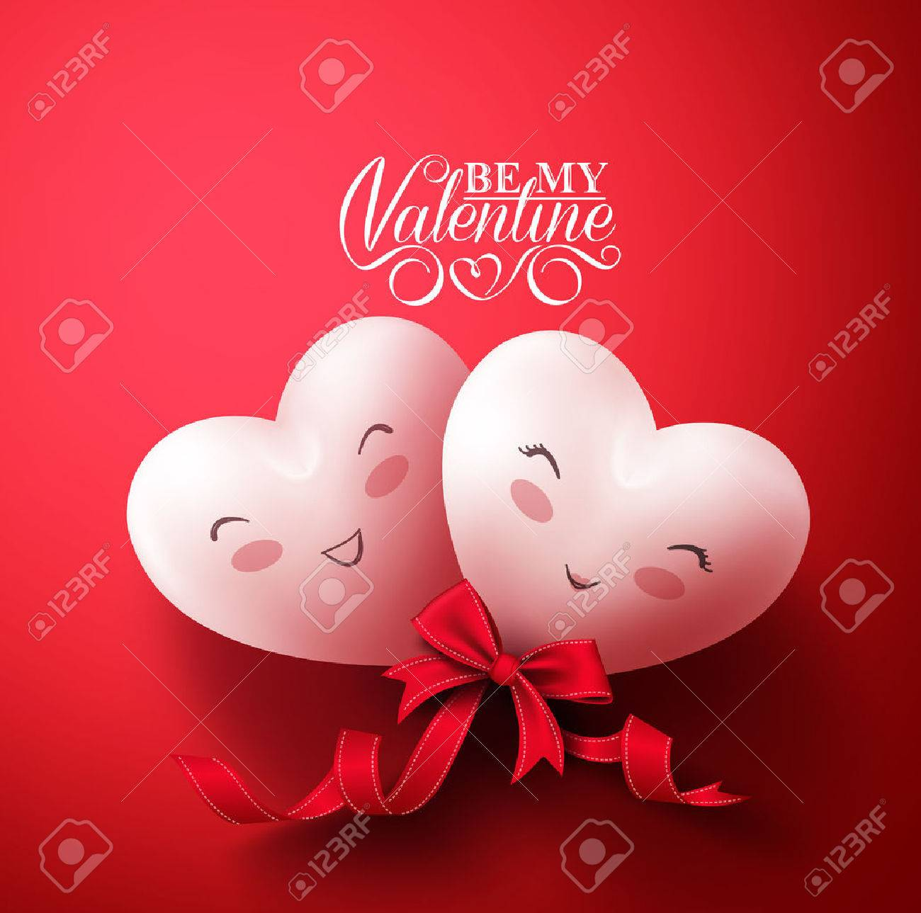 Sweet Smiling Hearts of Happy Lovers for Happy Valentines Day Greetings in Red Background with Ribbon. Vector Illustration - 50818482