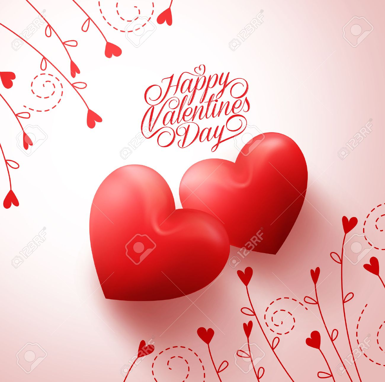 Two Red Hearts for Lovers with Happy Valentines Day Greetings in White Background with Flowers Vine Pattern. Vector Illustration - 50818484