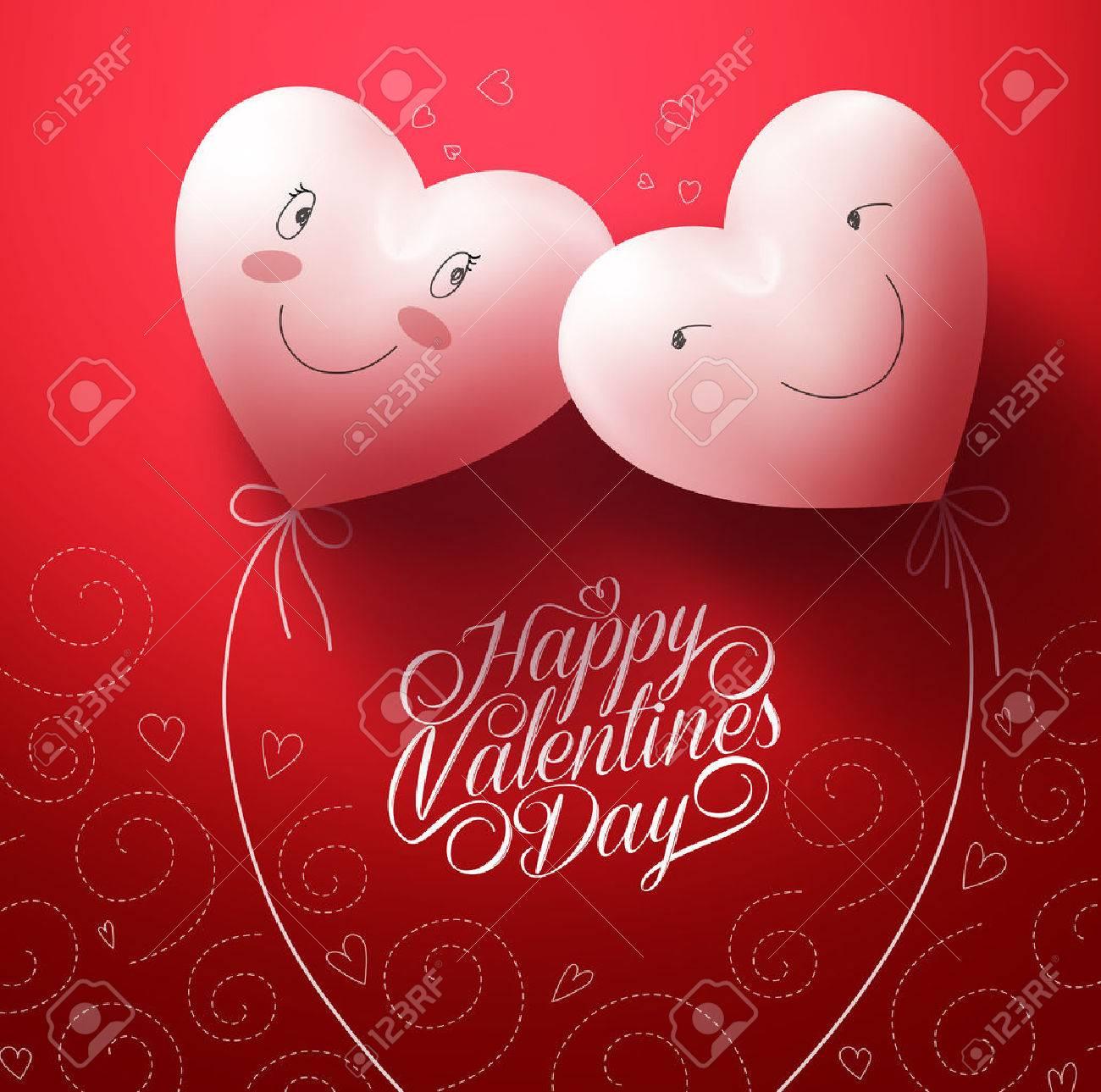 Two White Hearts Inlove with Happy Face for Valentines day Greetings Card with Pattern Red Background. Vector Illustration - 50818486