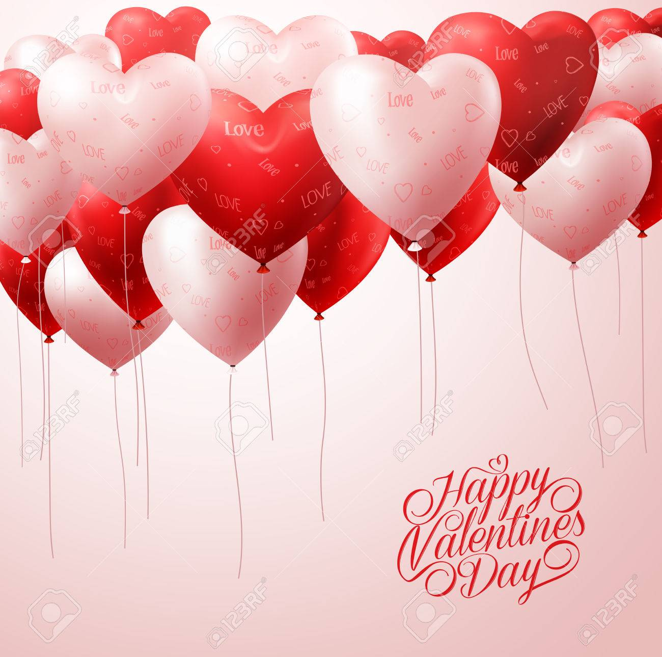 3D Realistic White and Red Heart Balloons Flying with Patterns in White for Valentines Greetings Background. Vector Illustration - 50818488