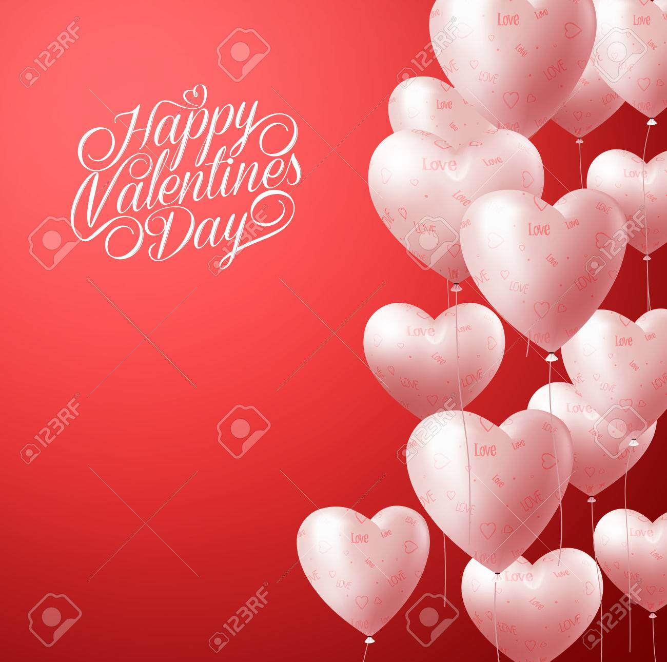 3D Realistic Heart Balloons Flying in Red Background for Valentines Background with Greetings and Space for Message. Vector Illustration - 50818490