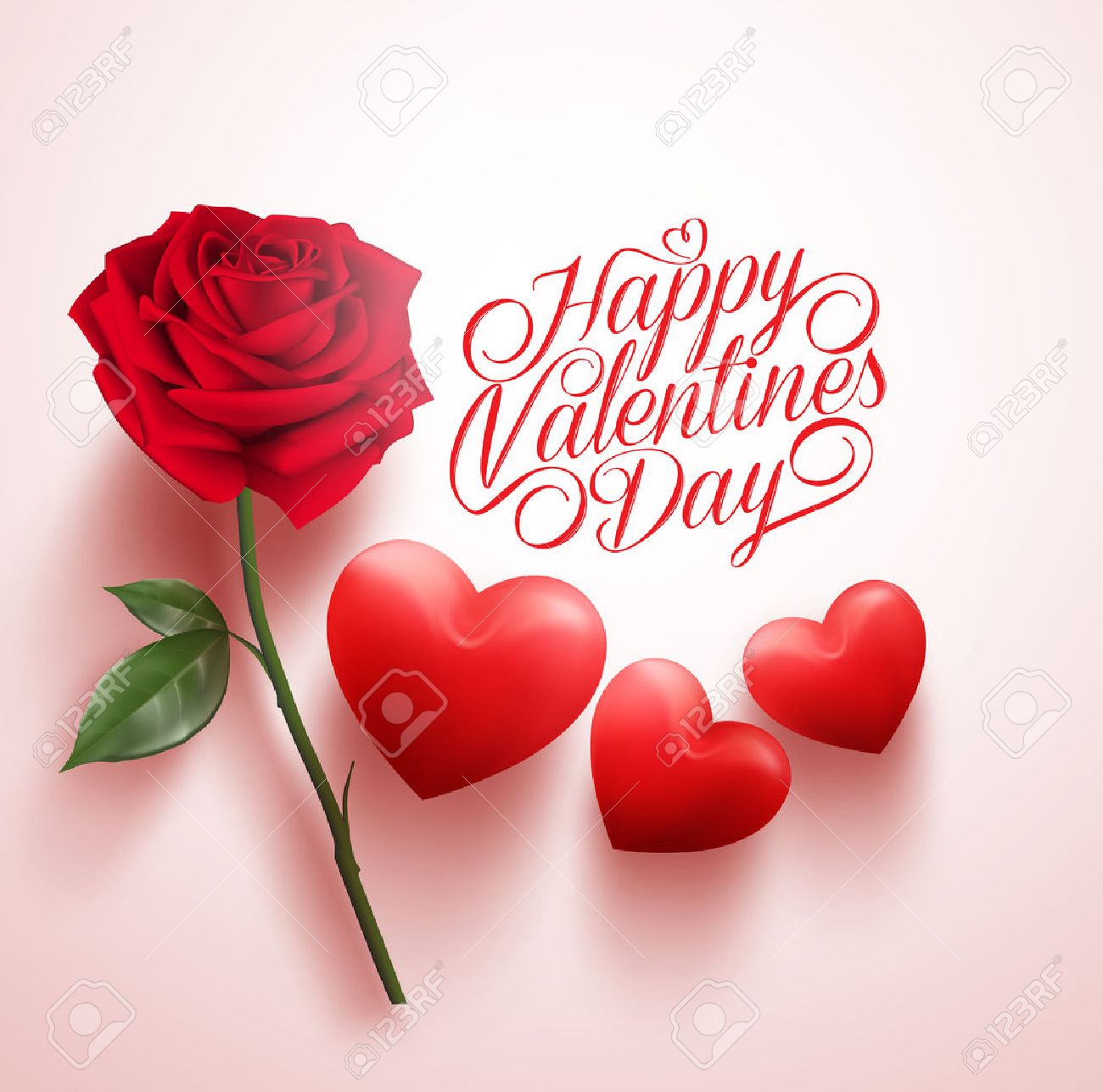 3D Realistic Red Rose and Hearts with Happy Valentines Day Message. Vector Illustration - 50901909