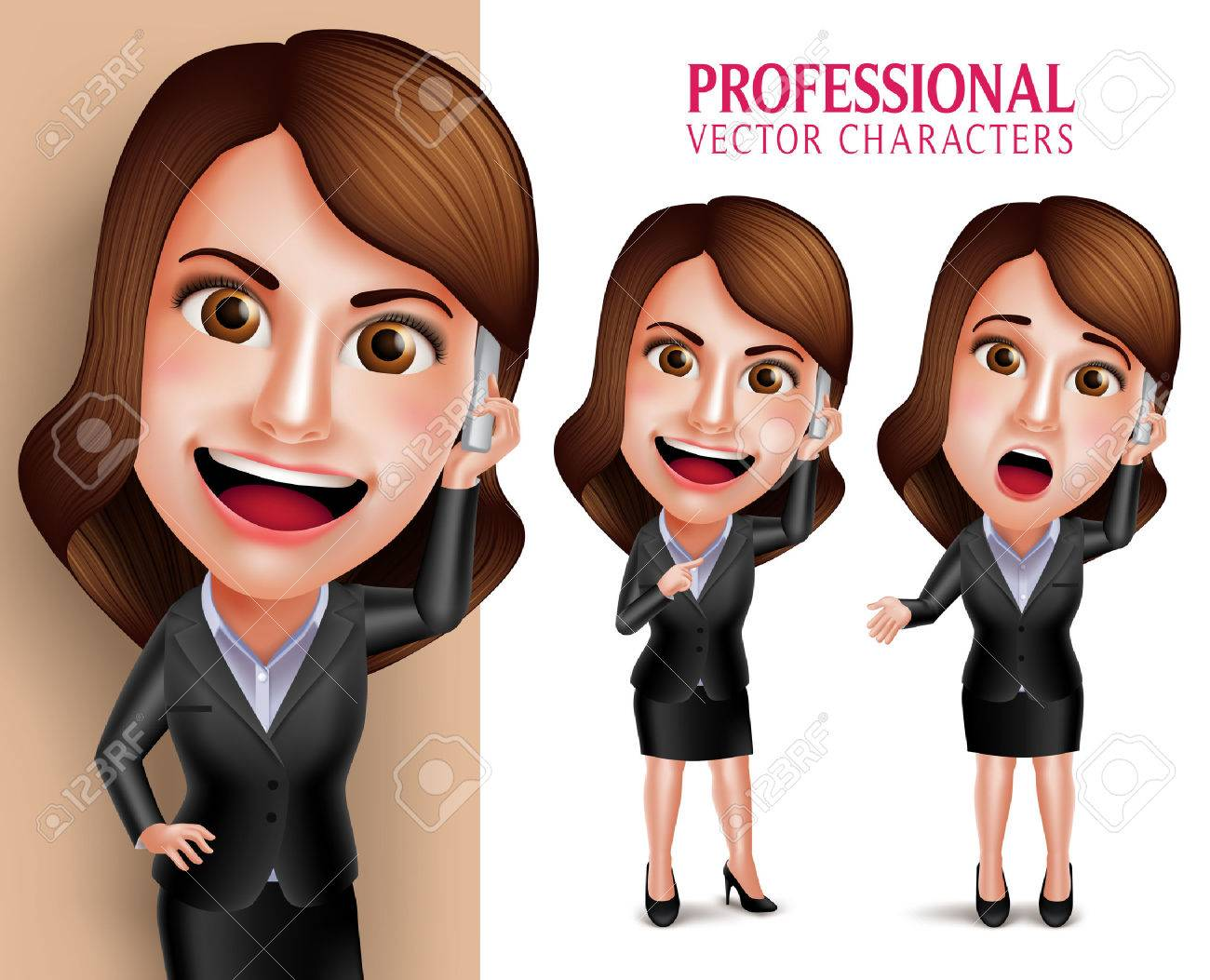 Set of 3D Realistic Professional Woman Character with Business Outfit Happy Smiling While Talking in Mobile Phone Isolated in White Background. Vector Illustration - 51129528