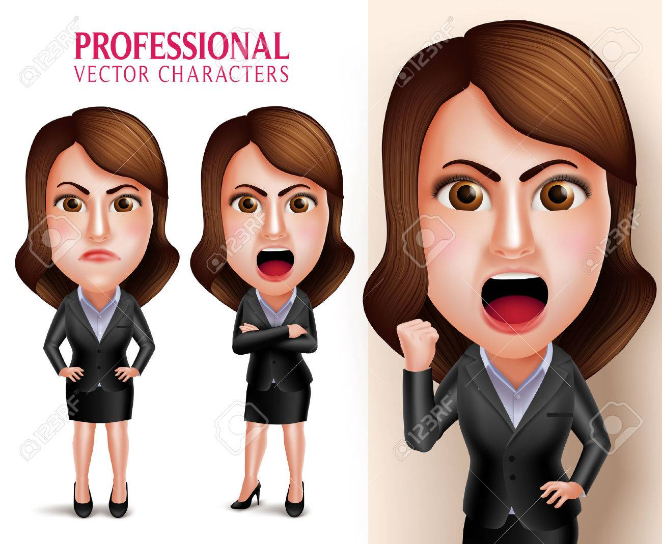 Set of 3D Realistic Professional Business Woman Vector Character Angry and Mad Like a Boss with Crossed Arms Isolated in White Background. Vector Illustration - 51129532
