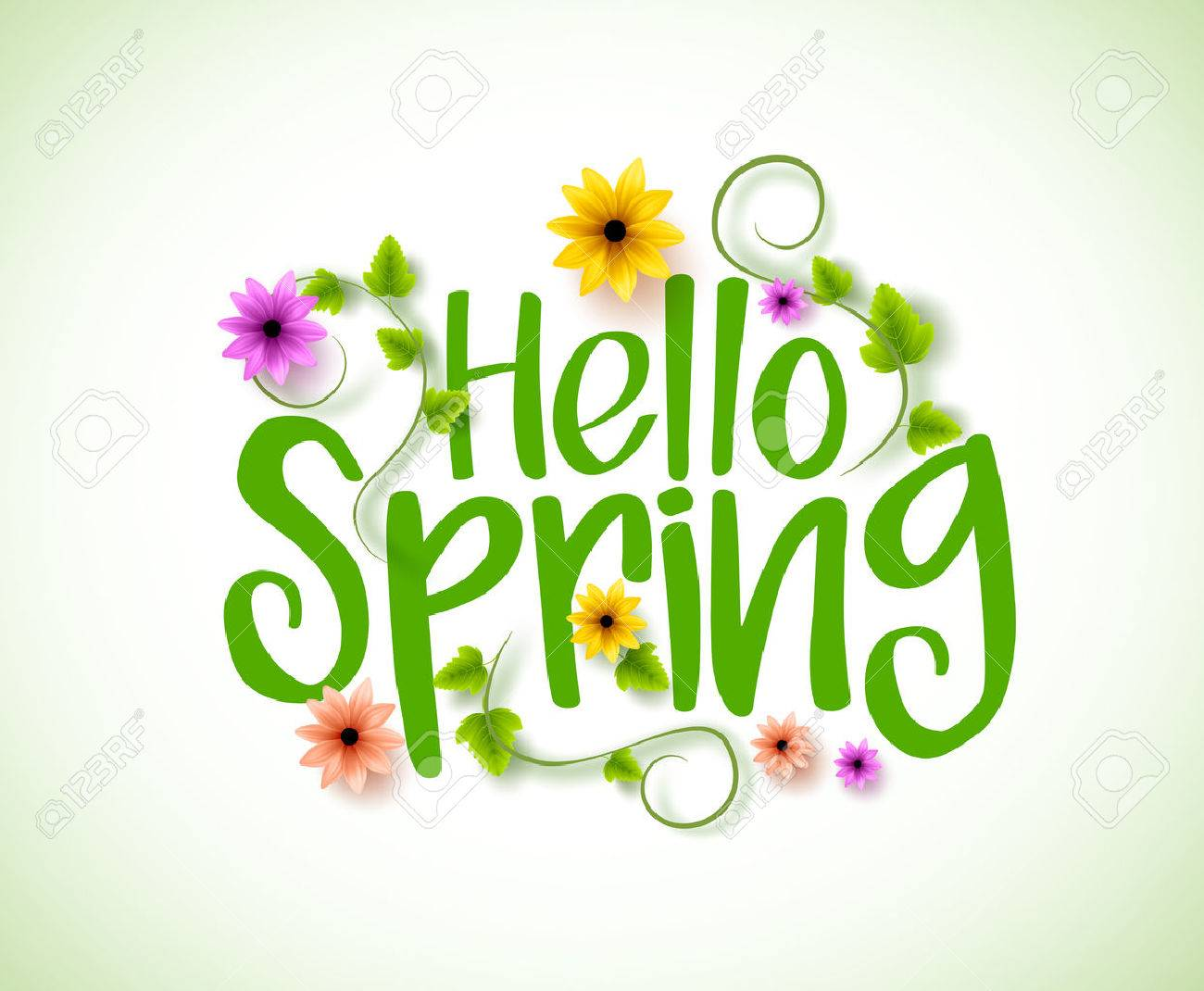 Hello Spring Vector Design with 3D Realistic Fresh Plants and Flowers Elements for Spring Season. Vector Illustration - 51701022