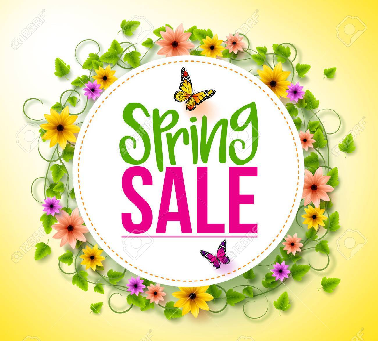 Spring Sale in a White Circle with Wreath of Colorful Flowers, Vines and Leaves with Flying Butterflies for Spring Seasonal Promotion. 3D Realistic Vector Illustration - 51870884