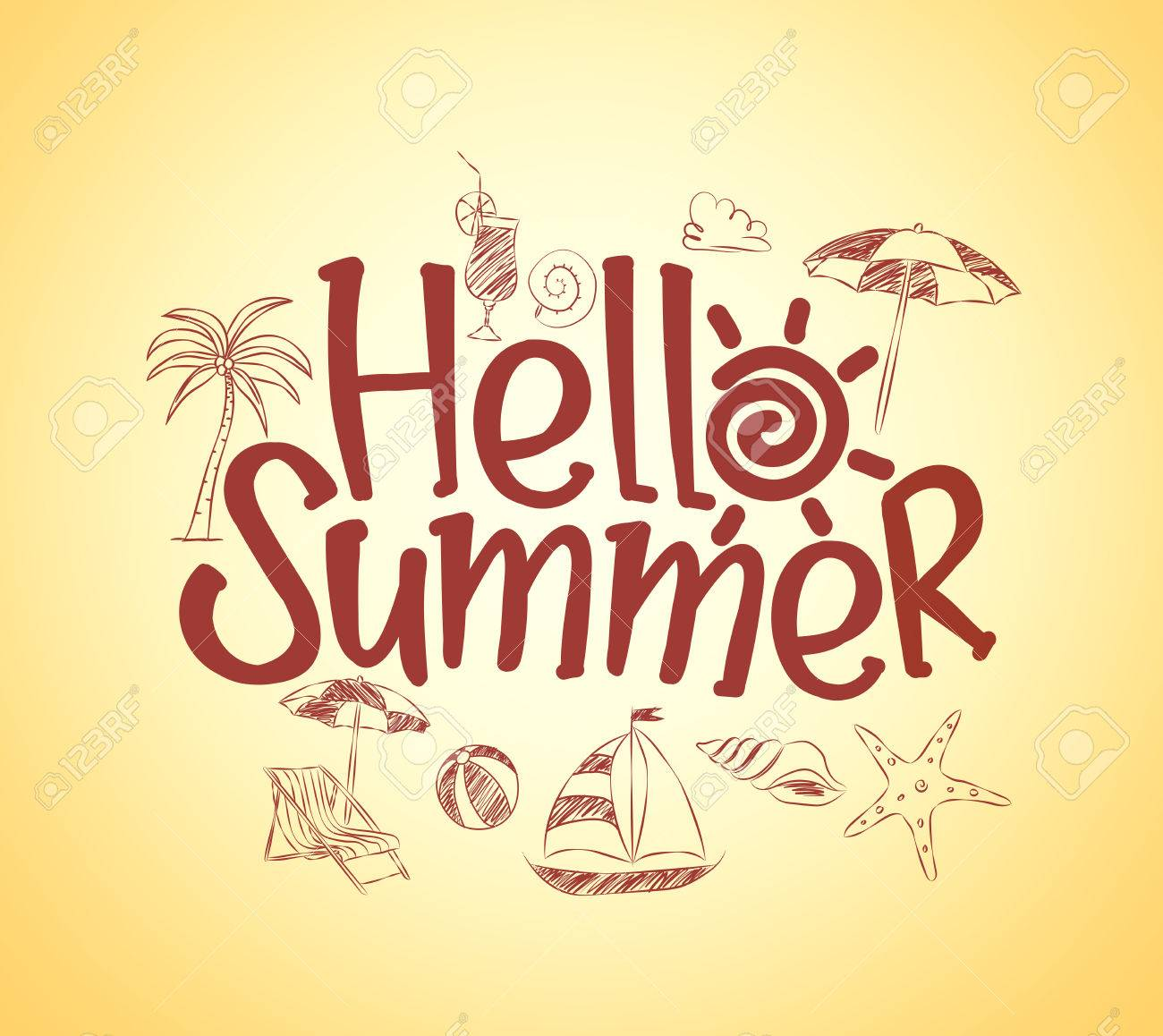 Simple Hello Summer Poster Design with Hand Drawing Vector Elements and Decoration of Summer Items in Yellow Background. Vector Illustration - 52478178