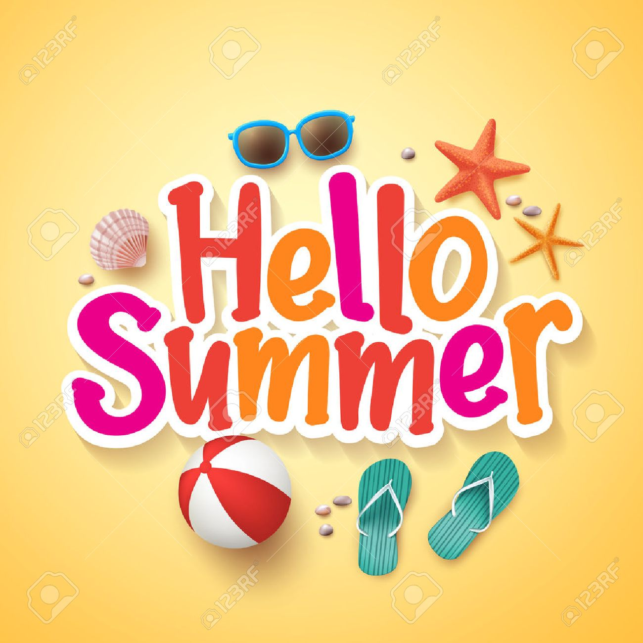 Hello Summer Text Title Poster Design with Realistic 3D Vector Elements and Decorations in Yellow Background. Vector Illustration - 52478191