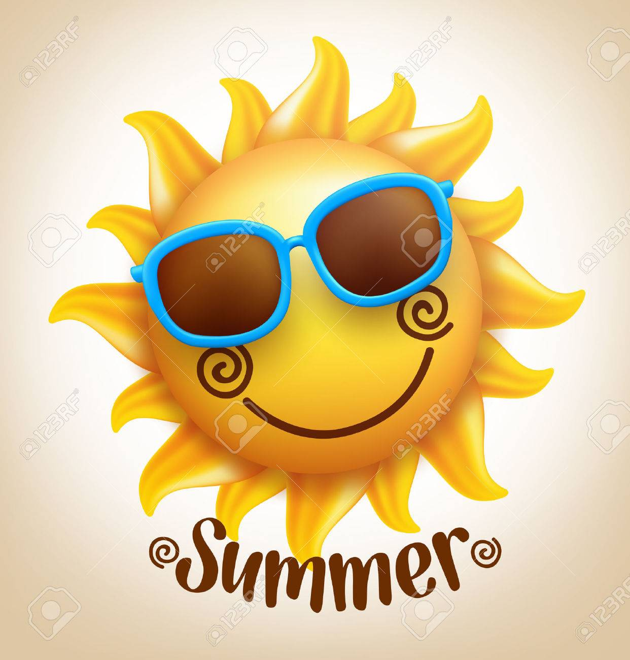 3D Realistic Happy Smiling Cute Sun Vector with Colorful Sunglasses with Summer Title. Vector Illustration - 52730544