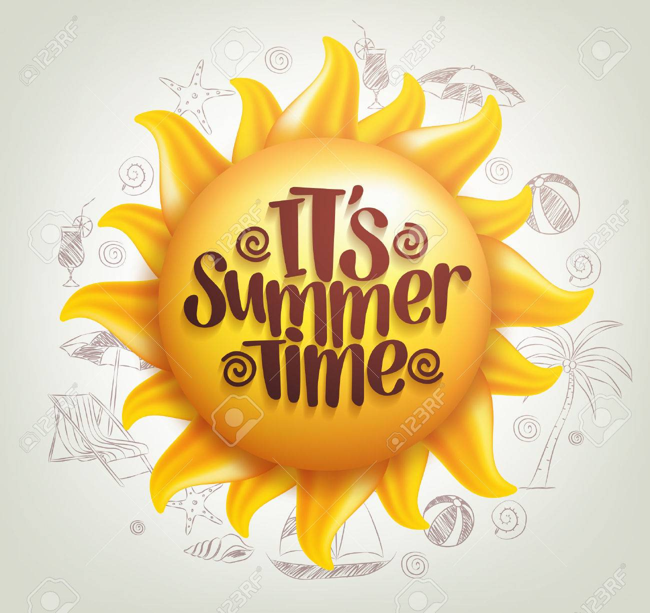 3D Realistic Sun Vector with Summer Time Title in a Background with Hand Drawing Summer Elements. Vector Illustration - 52730541