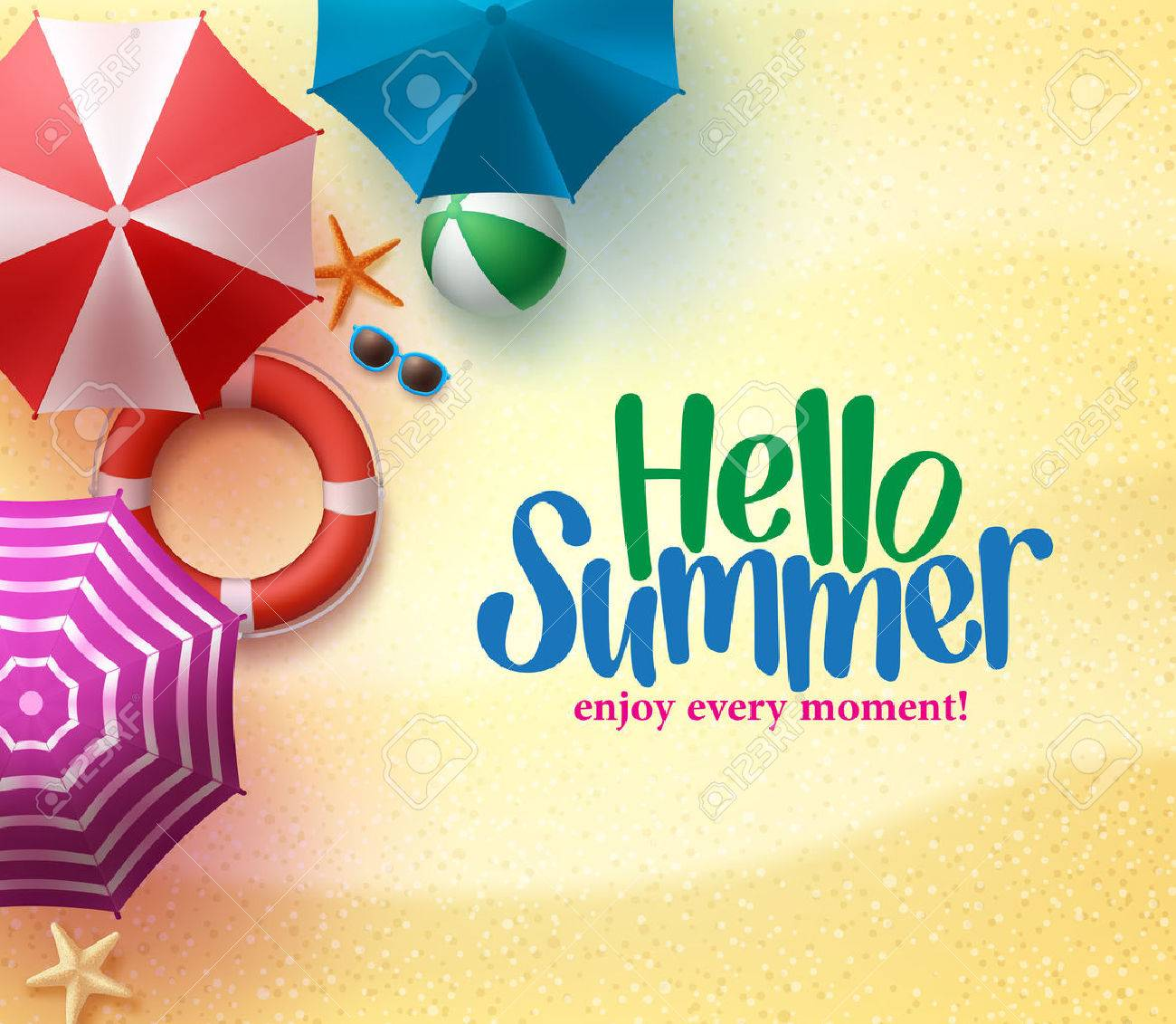 Hello Summer Background with Colorful Umbrella, Beach Ball, and Lifebuoy in the Sand Sea Shore for Summer Season. - 53161609
