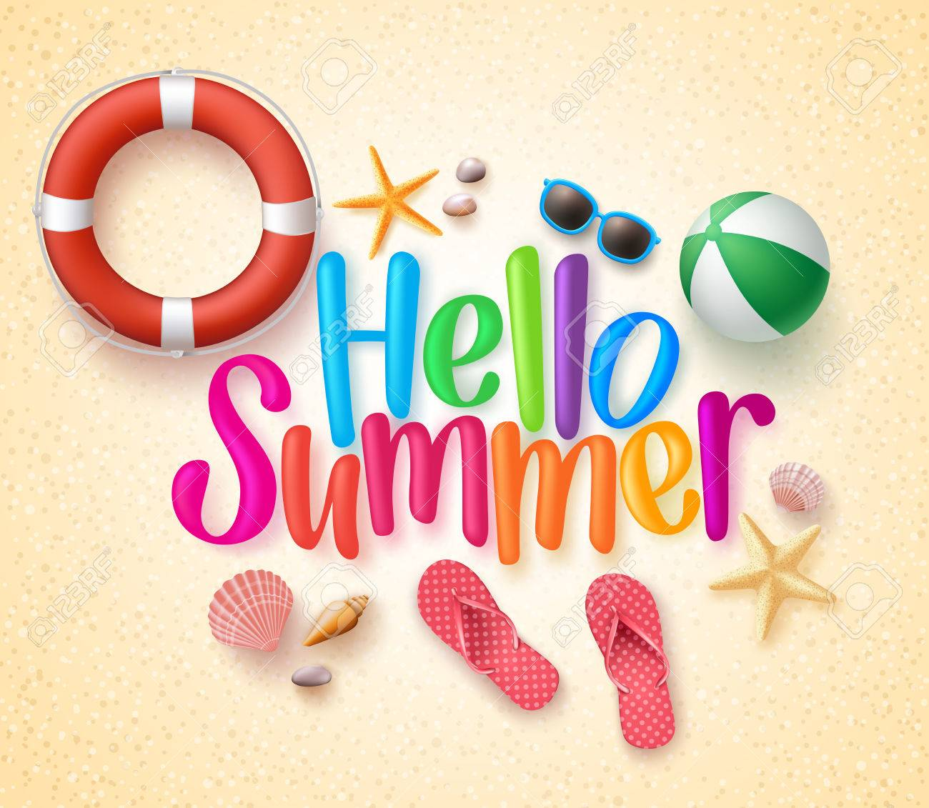 Hello Summer in the Sand Colorful Text and Background with Summer Season Items in the Beach. Illustration - 53830767