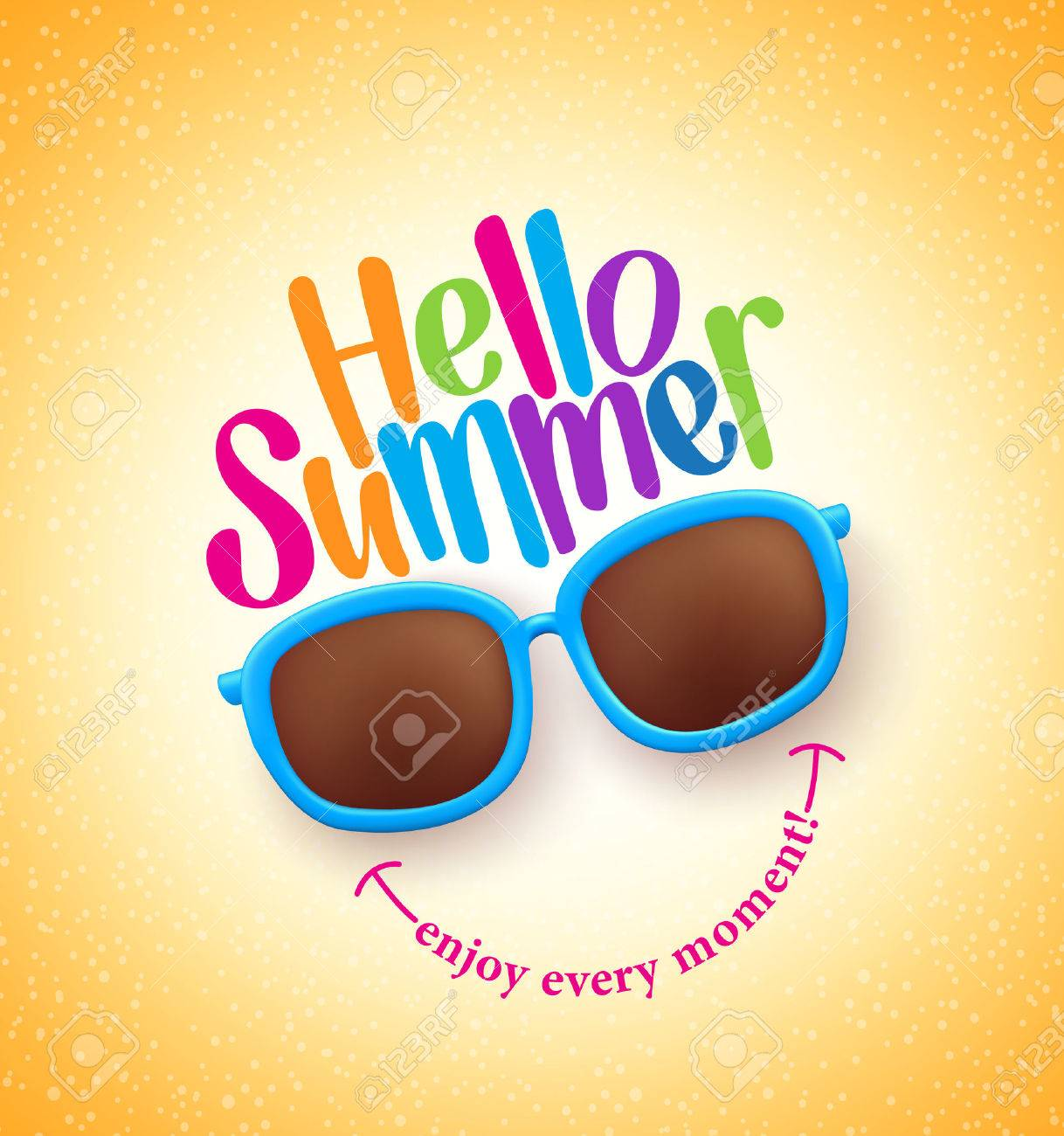 Summer Shades with Hello Summer Happy Colorful Concept in Cool Yellow Background for Summer Season. - 54020392