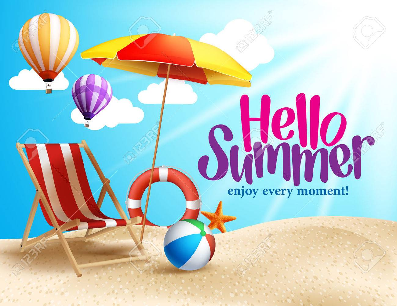 Summer Beach Vector Design in the Seashore with Beach Umbrella and Chair. Summer Background Vector Illustration for Beach Holidays - 54281139